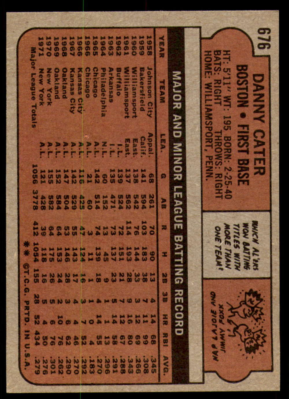 1972-Topps-Baseball-Set-497-787-Pick-Your-Card-Each-Card-Scanned-Front-amp-Back thumbnail 269