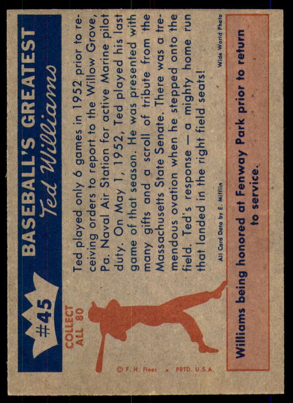 1959 fleer 45 1952  farewell to baseball near mint red
